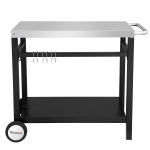 S/S table top with black powder coated steel trolley