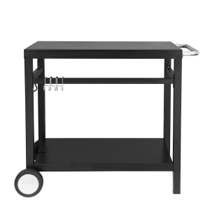 Steel table top with black powder coated steel trolley