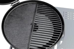 1/2 matte enamel coated cast iron cooking grid + 1/2  matte enamel coated cast iron cooking plate is available.